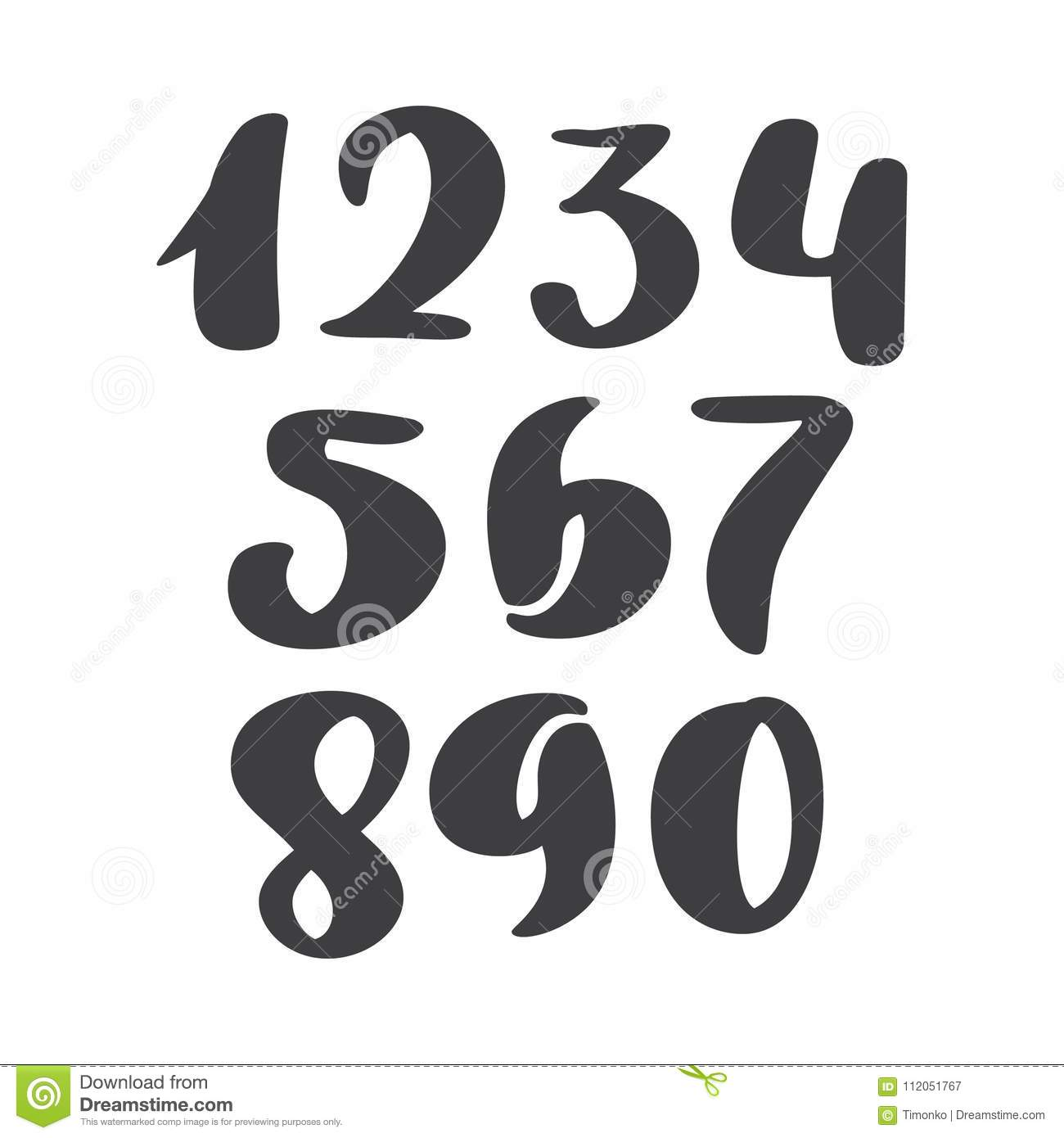 Vector Set Of Calligraphic Ink Numbers  ABC For Your Design, Brush