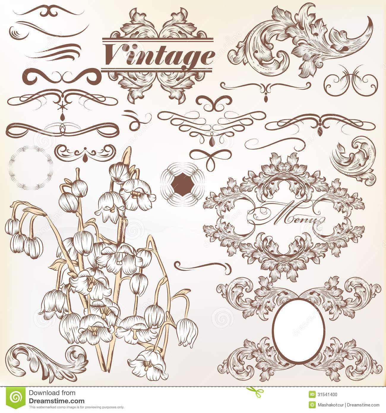Vintage Book Cover Design Vector Free Download : Vector set of calligraphic vintage elements and page