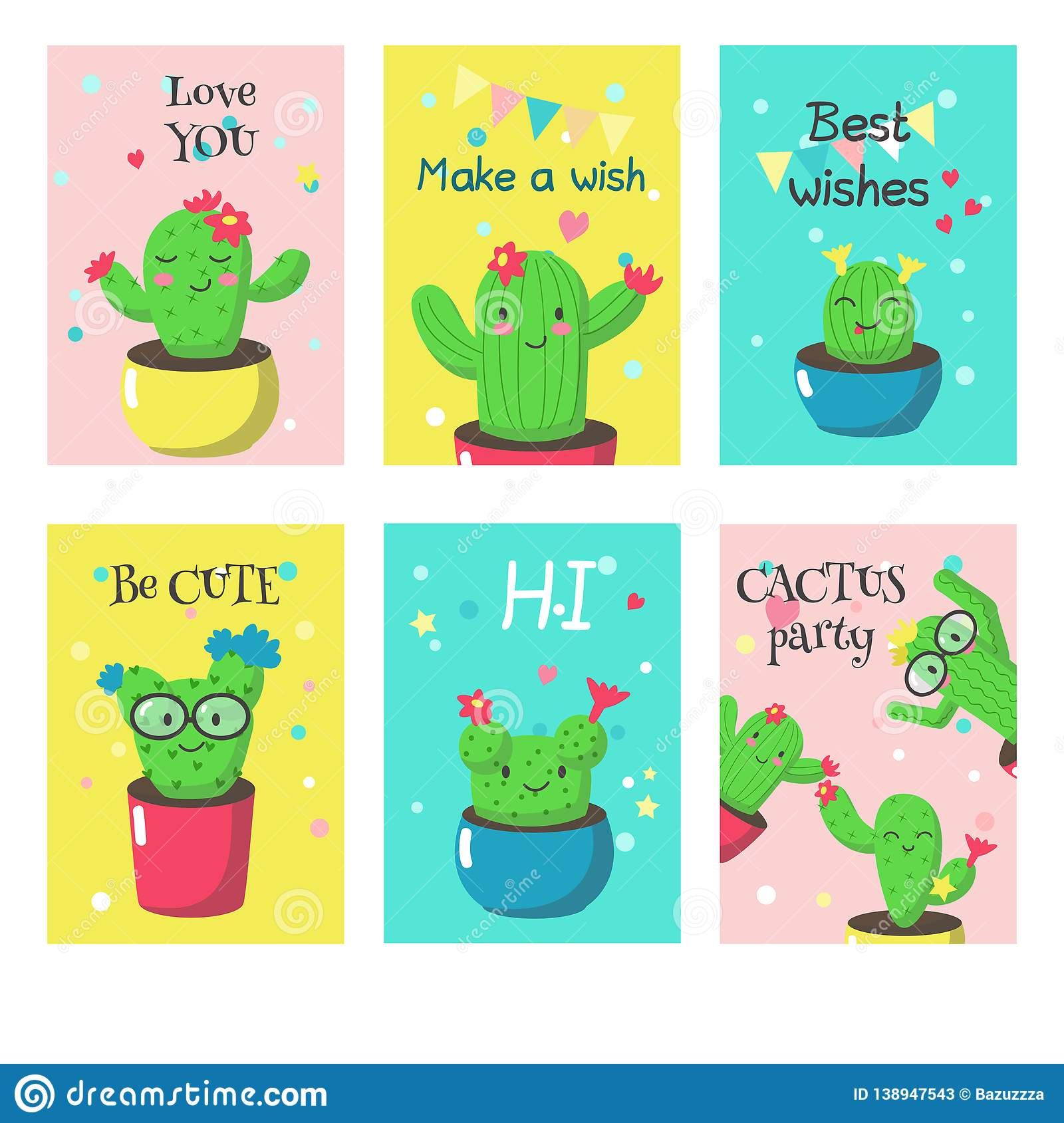 Vector Set Of Cards With Cute Funny Cactuses And Quotes