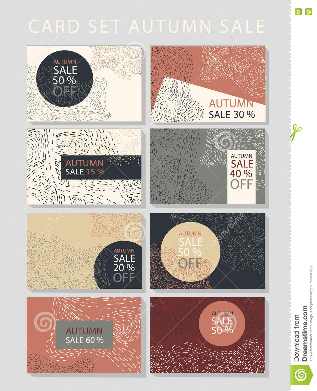 vector set of cards on sale discount concept abstract backgrounds