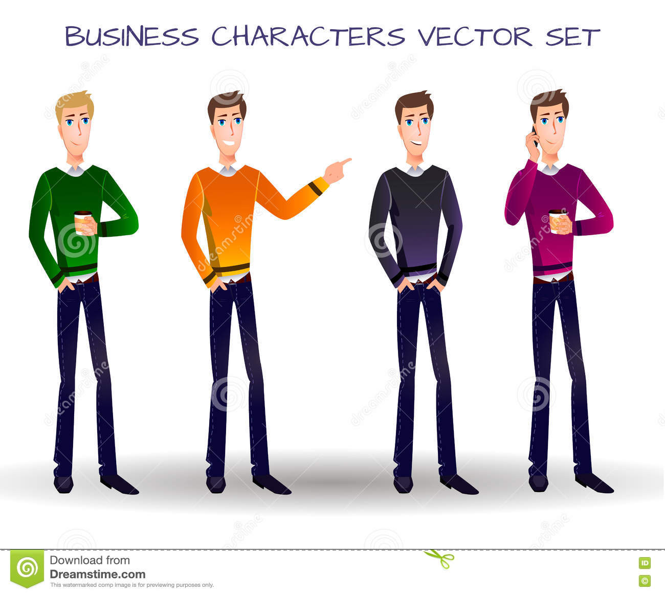 VECTOR set of cartoon business characters.
