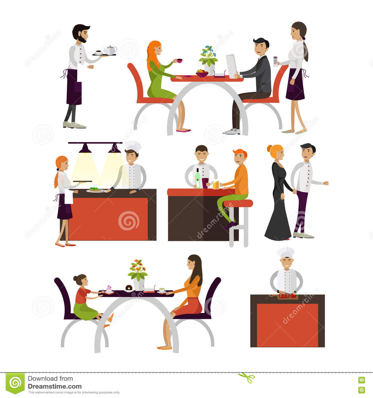 Restaurant Background With People Vector Set Of Cartoon Characters On White Backgroundpeople In