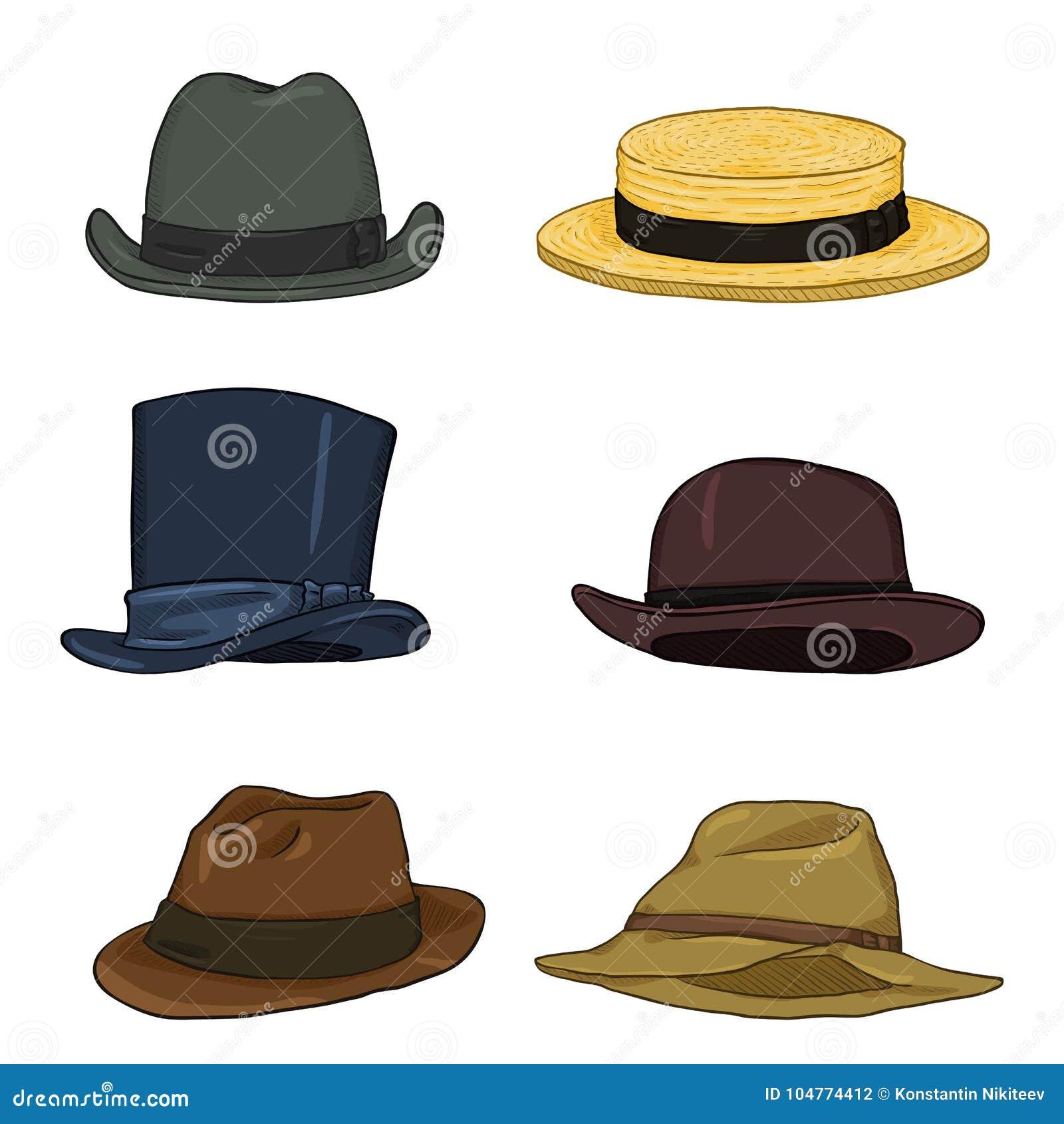 2a8c777f98df3 Vector Set Of Cartoon Classical Types Hats. Homburg