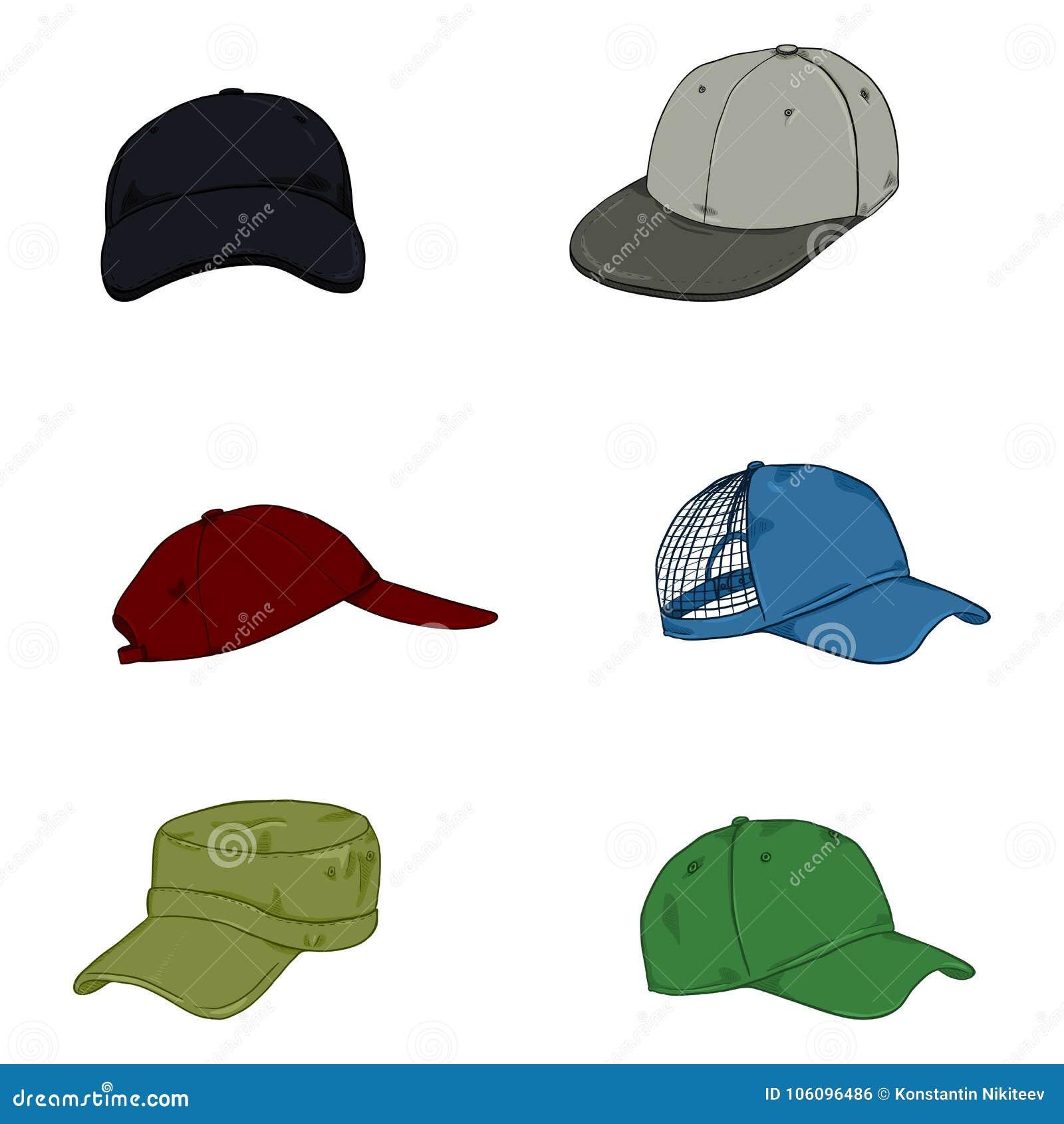 8859a378 Vector Set Of Cartoon Color Baseball Caps. Stock Illustration ...