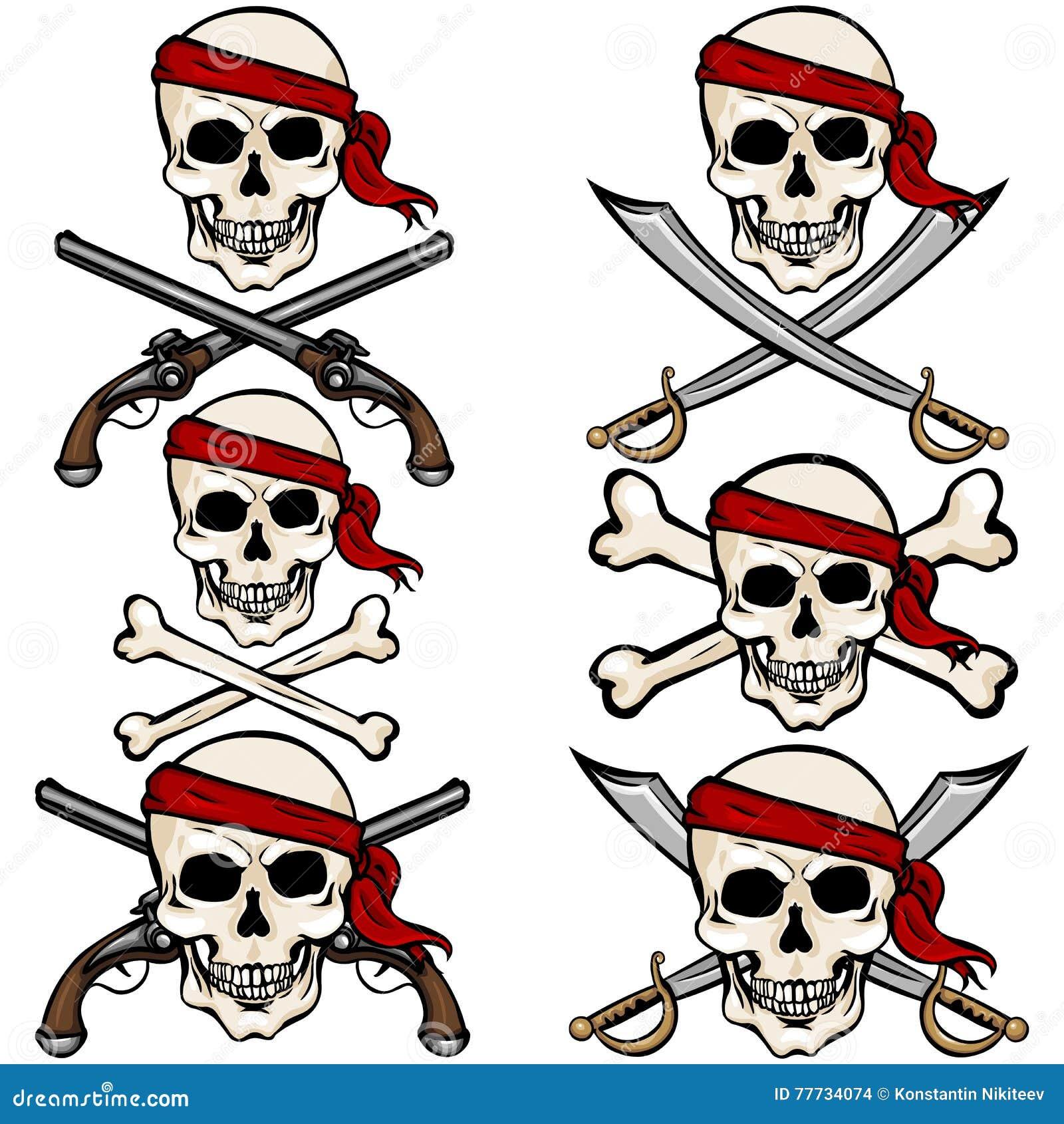 vector set of cartoon pirate skulls in red headband stock