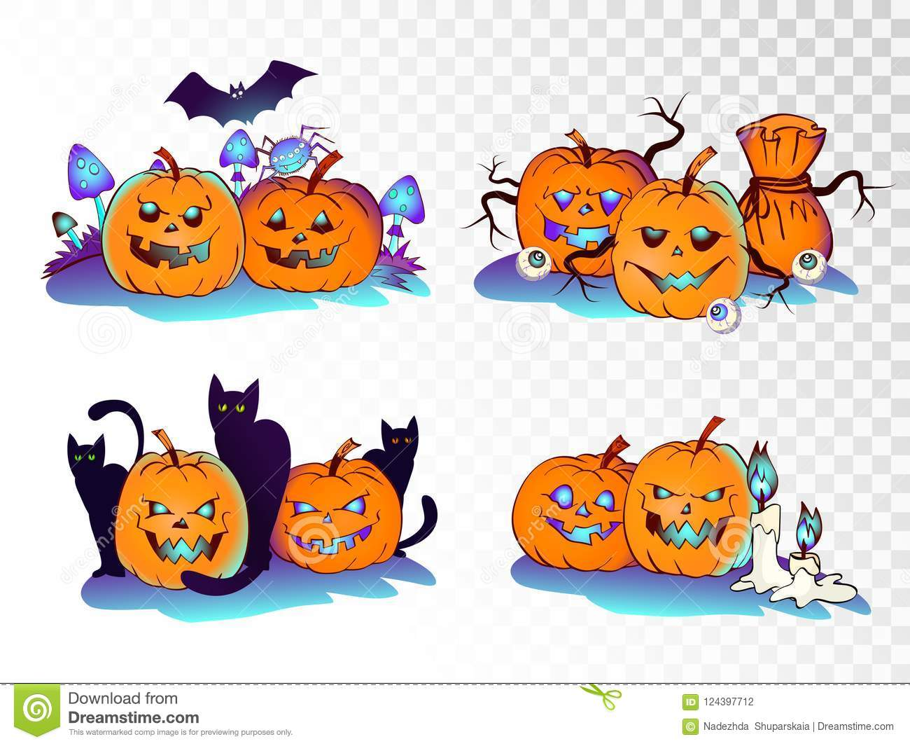 Halloween Pumpkin Clipart Transparent Background.Vector Set Of Cartoon Pumpkins On Transparent Background