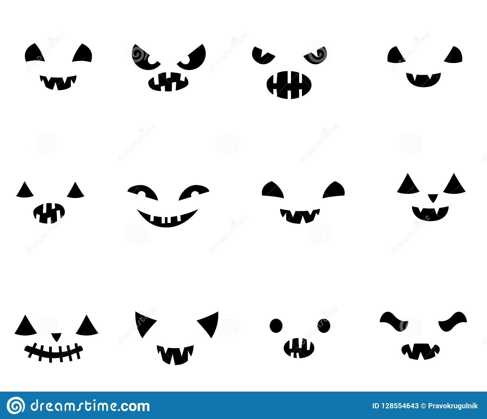 Pumpkin Faces Templates | Vector Set With Carved Halloween Pumpkin Faces Stock Vector