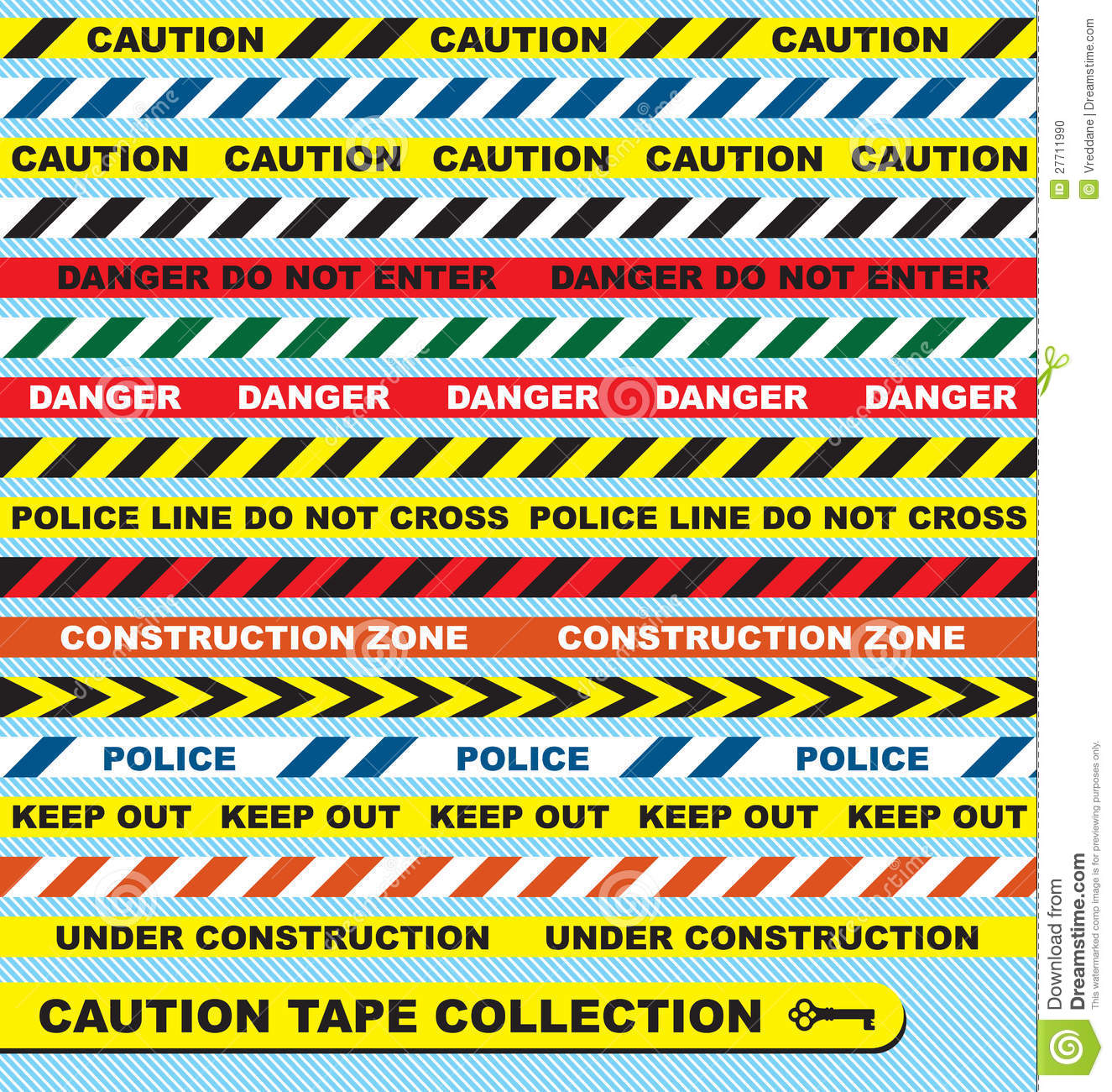 Construction Zone Tape Vector set: caution tape