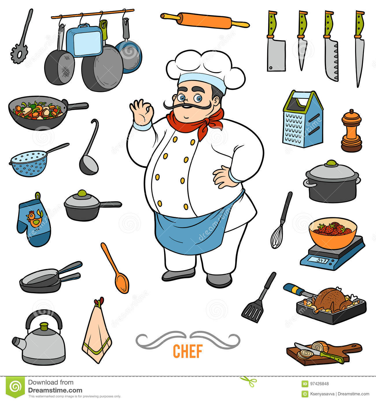 Vector set with chef and objects for cooking. Cartoon sticker se