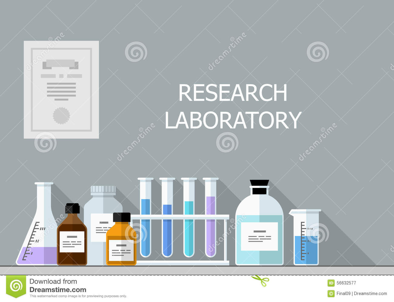 Vector Set - Chemical Research Laboratory  Flat Design Stock
