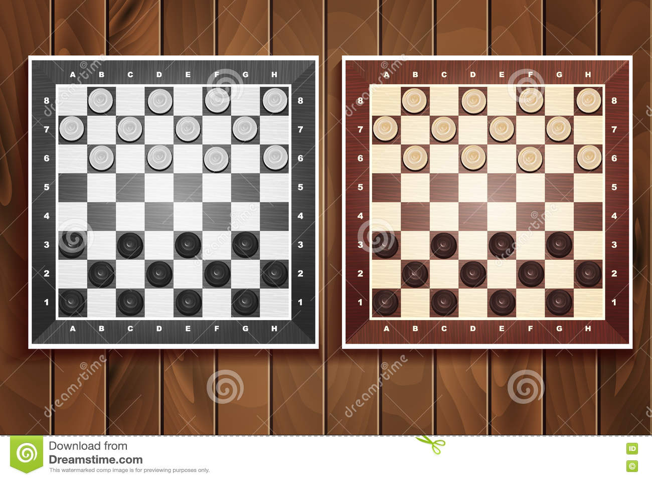 Vector Set Of Chess Boards On Wooden Background Stock Illustration