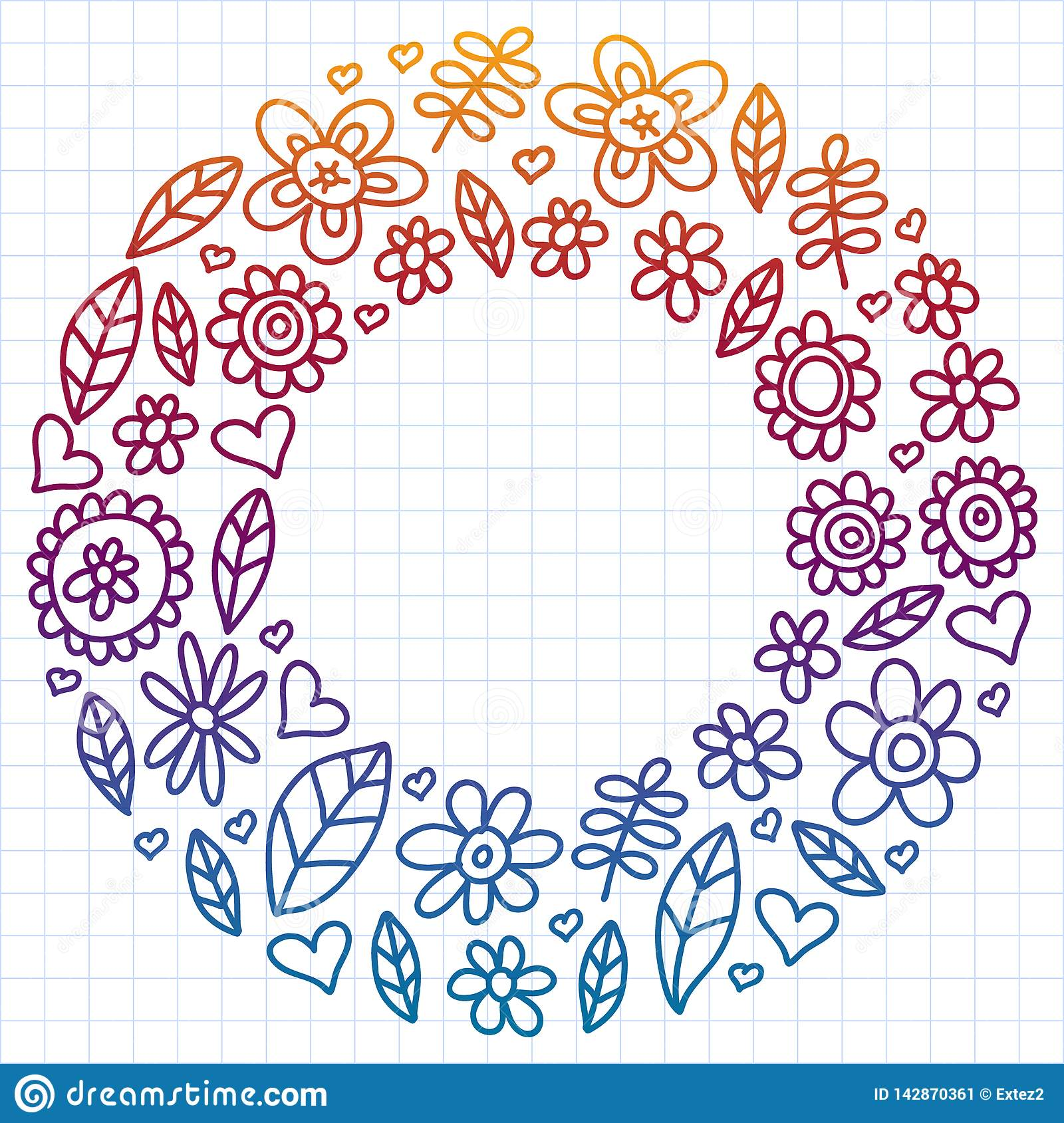 Vector set of child drawing flowers icons in doodle style. Painted, colorful, gradient, on a sheet of checkered paper on a white