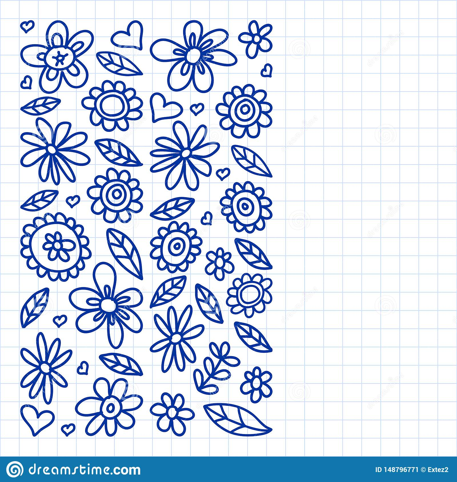 Vector set of child drawing flowers icons in doodle style. Painted, drawn with a pen, on a sheet of checkered paper on a white