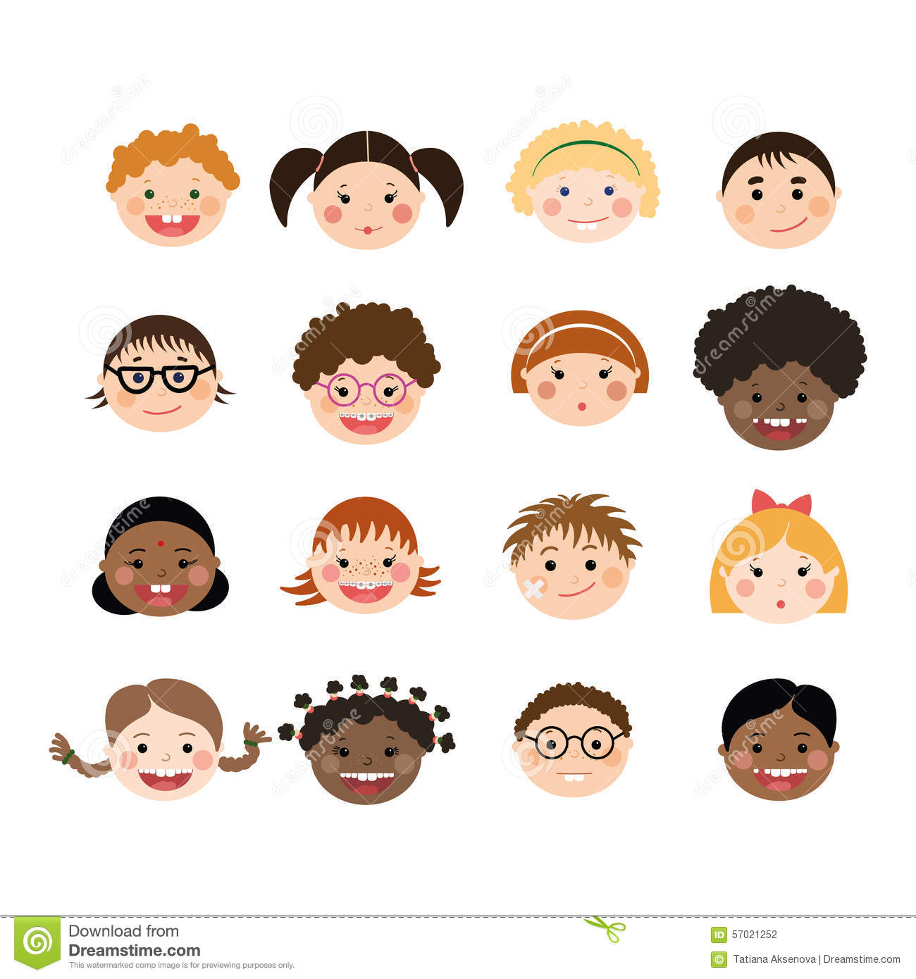 Vector Set Of Children Smiling Faces Stock Vector