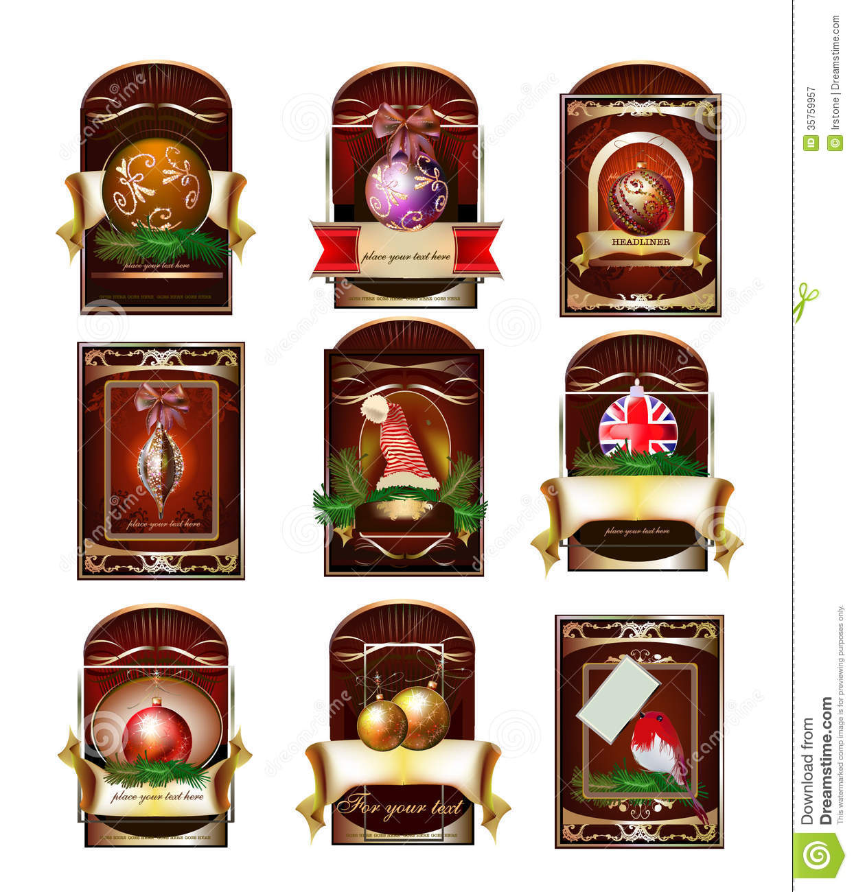 Vector Set Of Christmas Tags Labels Royalty Free Stock ...