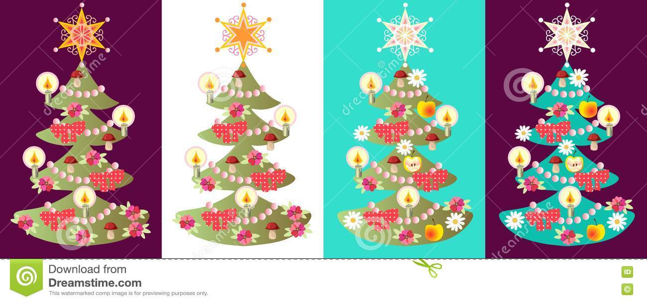 Vector Set Of Christmas Trees. Stock Vector - Illustration of apple ...