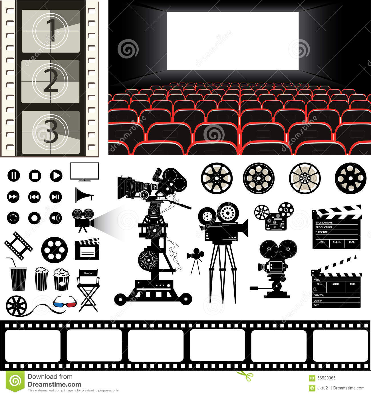 vector set of cinema theme icons and stuff stock vector