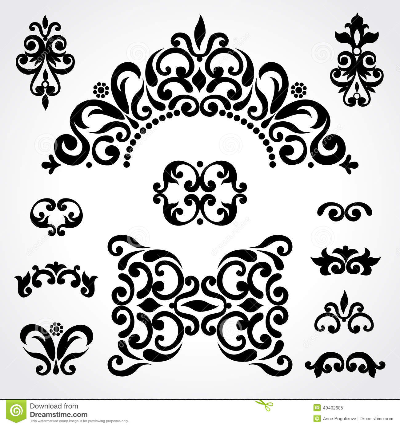 Vector Set With Classical Ornament In Victorian Style