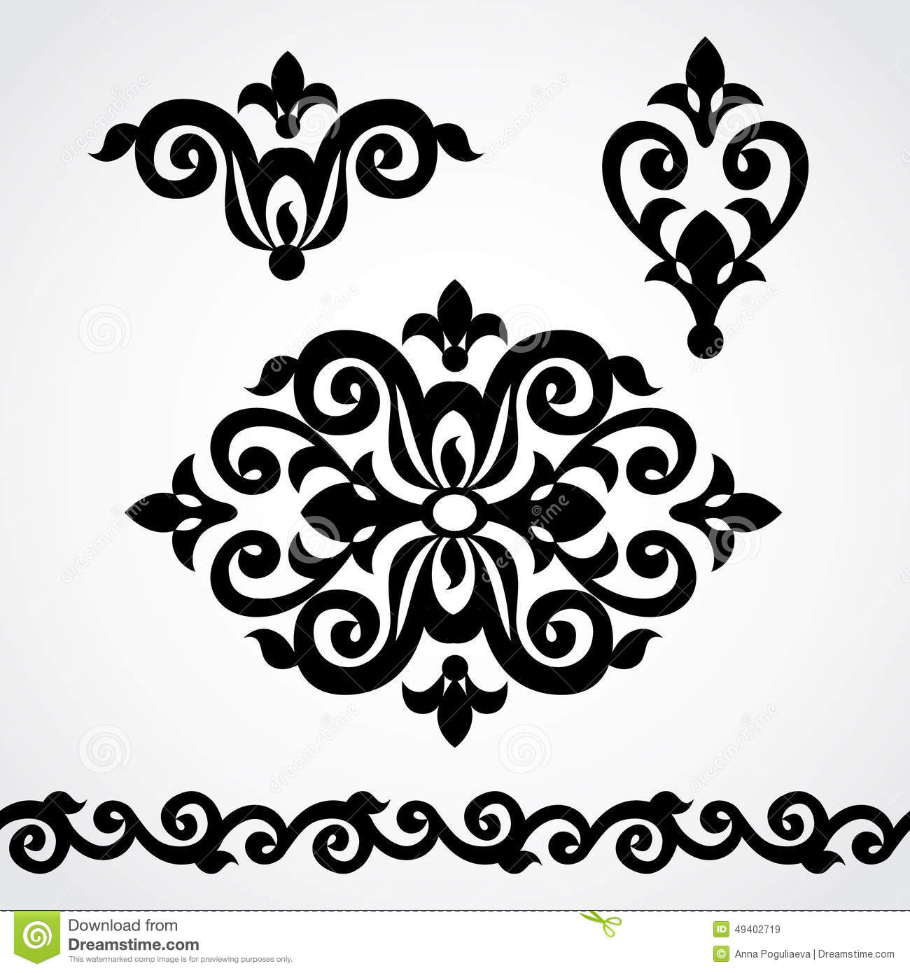 Vector Set With Classical Ornament In Victorian Style Stock Vector Image 49402719
