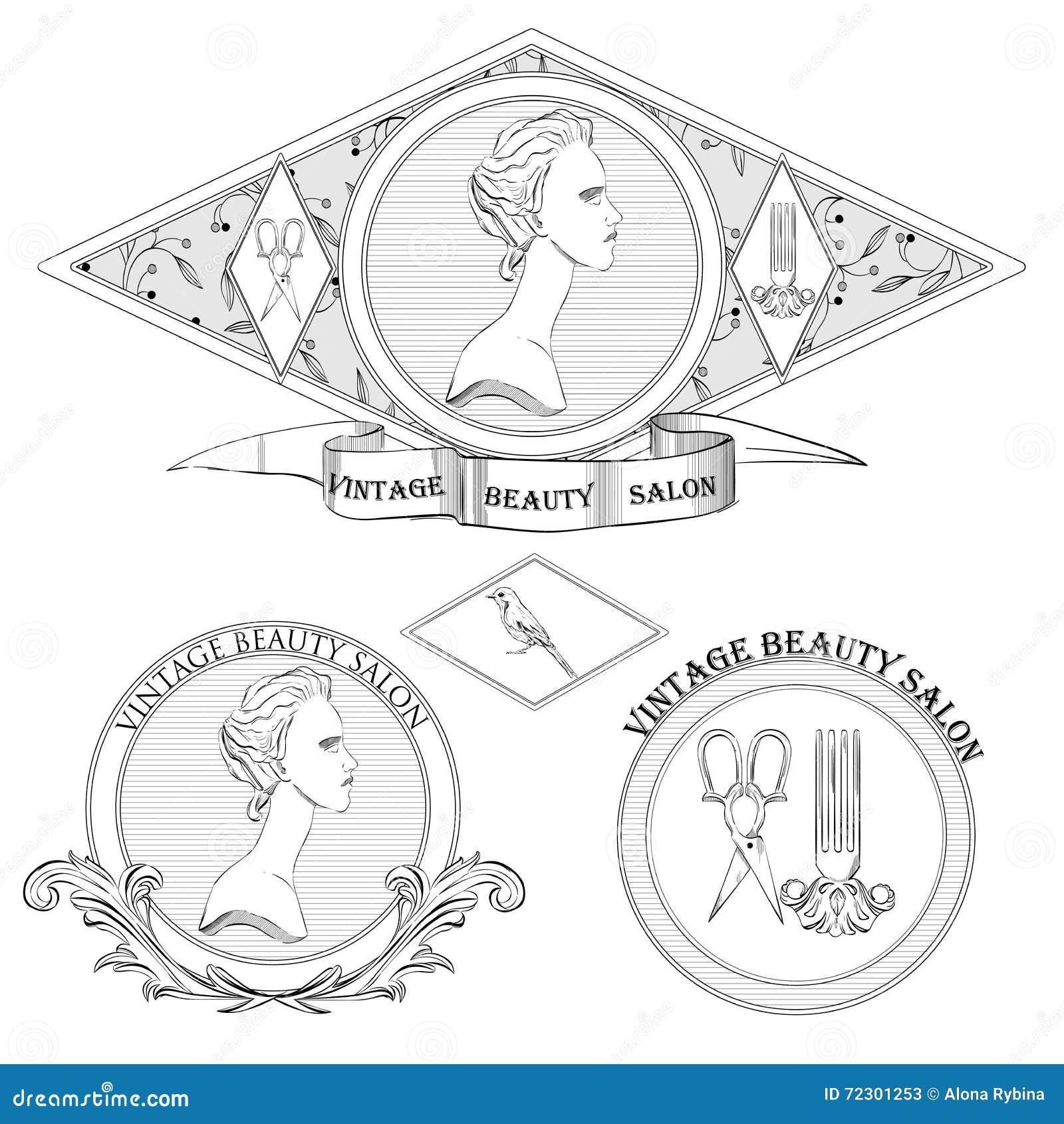 Vector Set Of Classical Woman Logo Beauty Salon Or Vintage Shop Retro Logotypes Collection