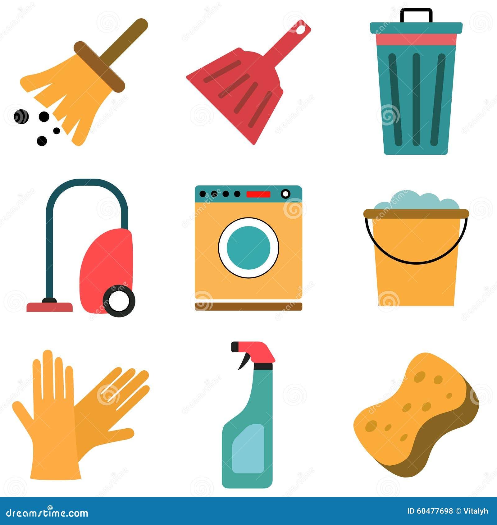 Vector set of cleaning flat icons stock vector image - Cosas de hogar ...
