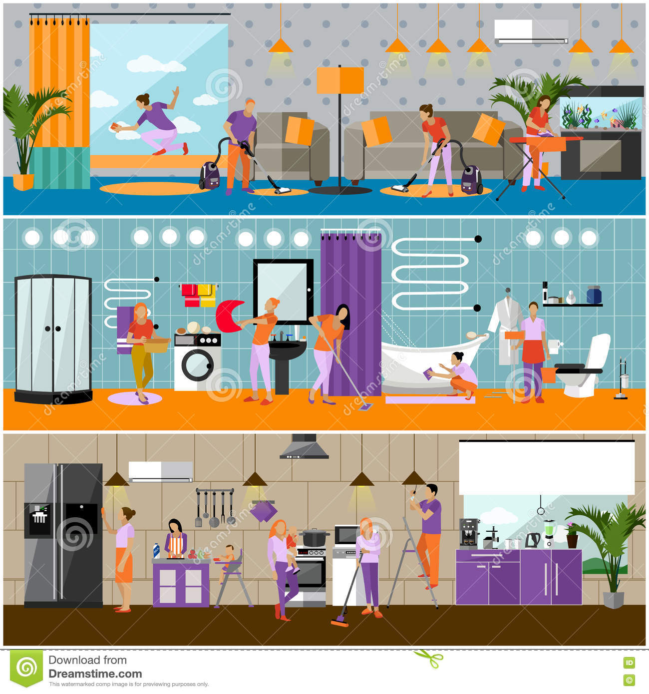 Vector Set Of Cleaning Service Concept Banners. Apartment Interior ...