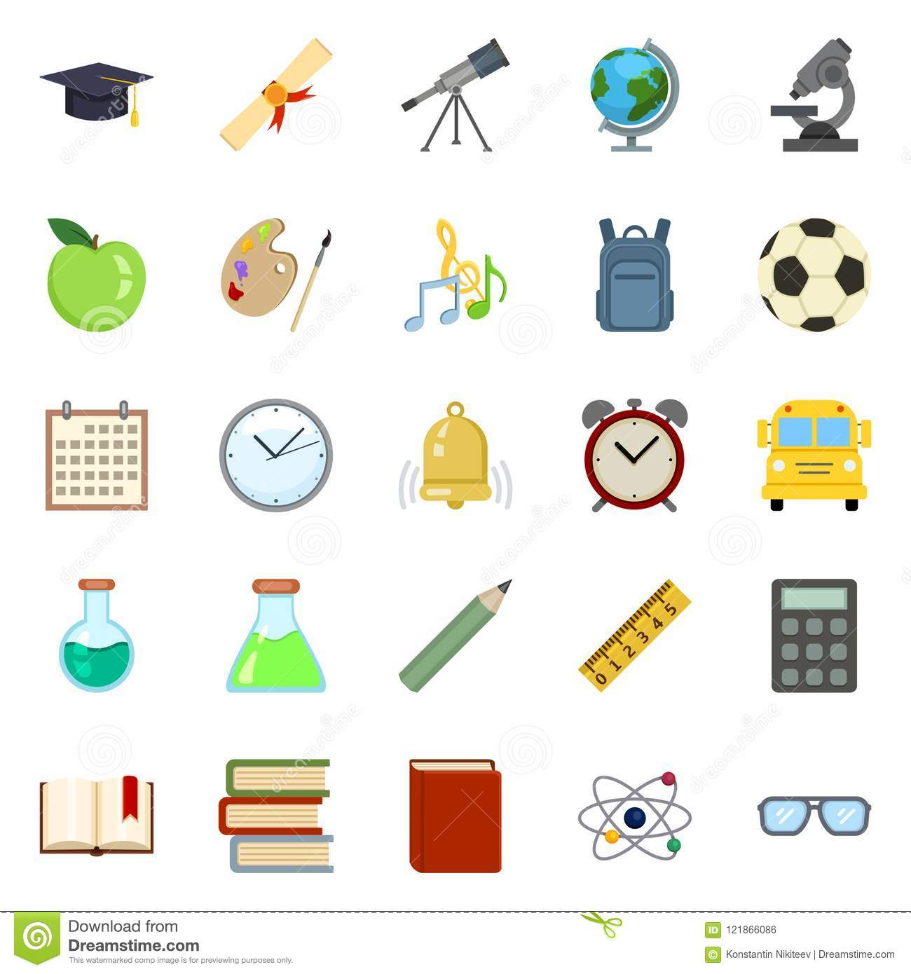 Vector Set of Color Education Symbols. Back to School Icons.