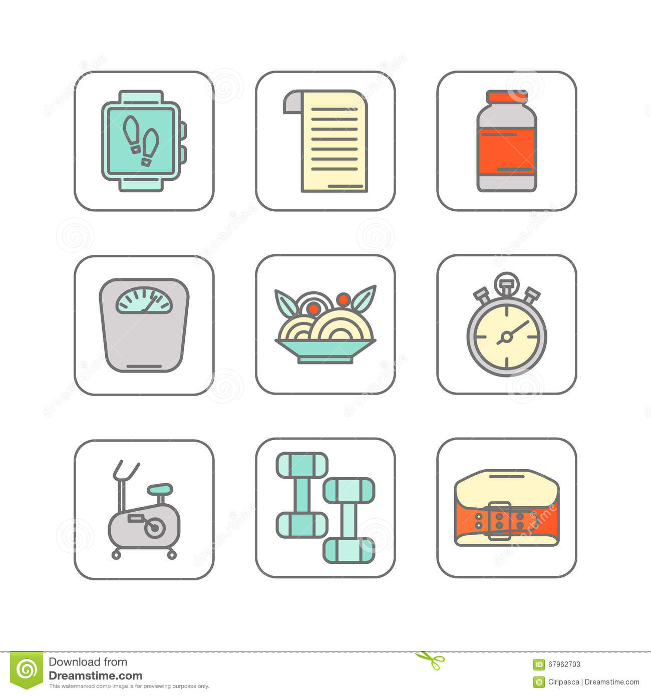 Vector set of color line icons for personal trainer program stock vector set of color line icons for personal trainer program royalty free vector 1betcityfo Images