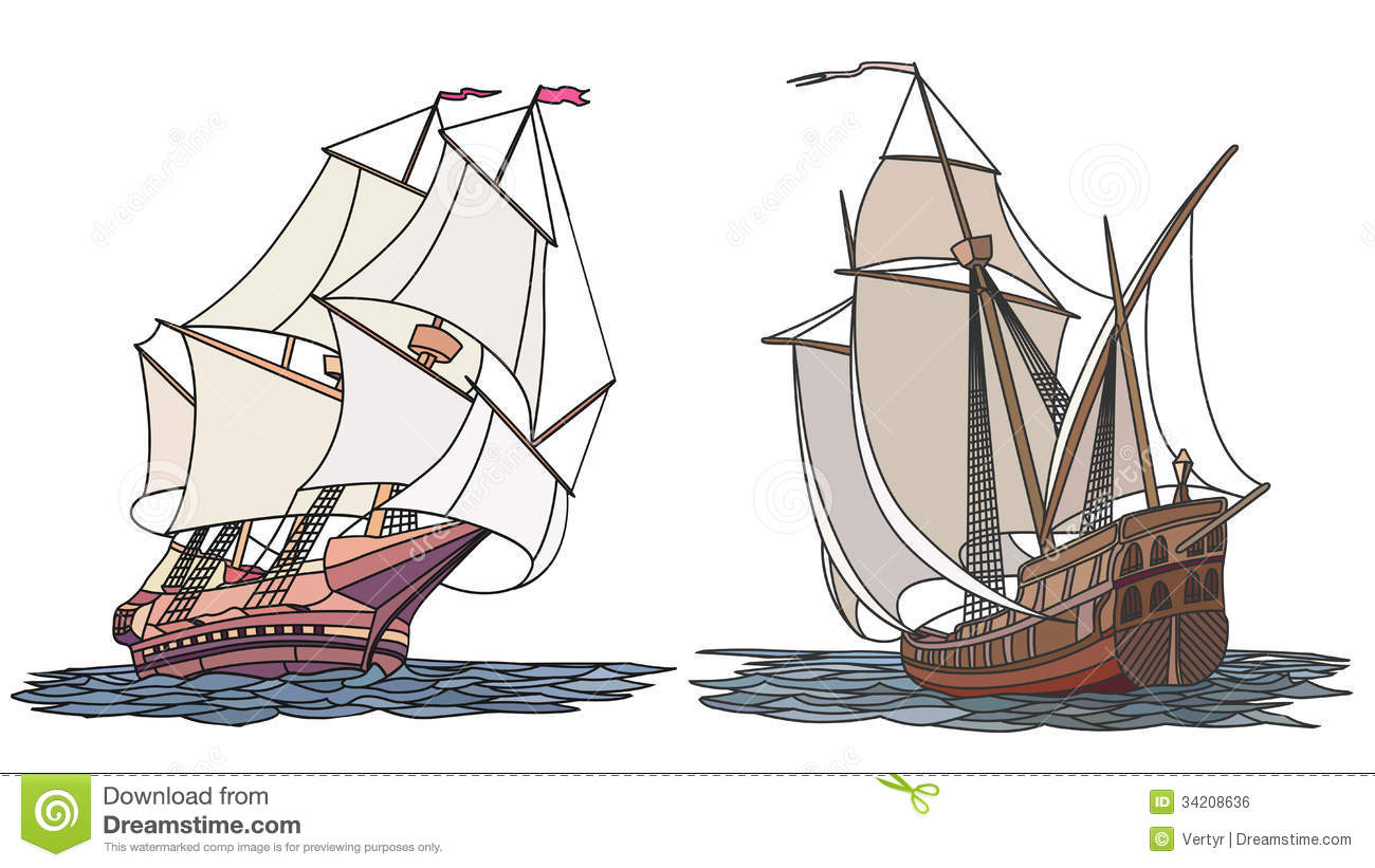 Vector Set Of Color Ship With Sails For Icons. Royalty ...