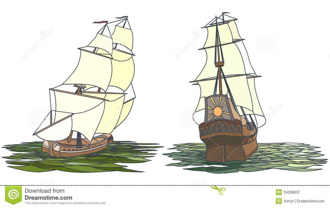 Vector Set Of Color Ship With Sails For Icons. Royalty ... Sailing Ship Vector