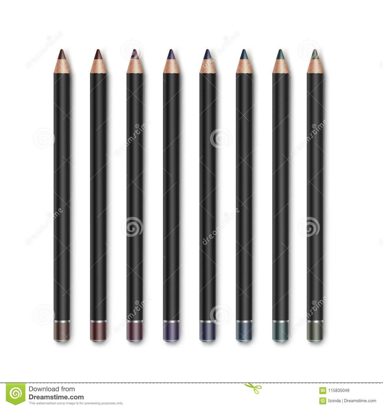 Vector set of Colored Dark Brown Vinous Blue Green Violet Purple Cosmetic Makeup Eyeliner Pencils Isolated on White
