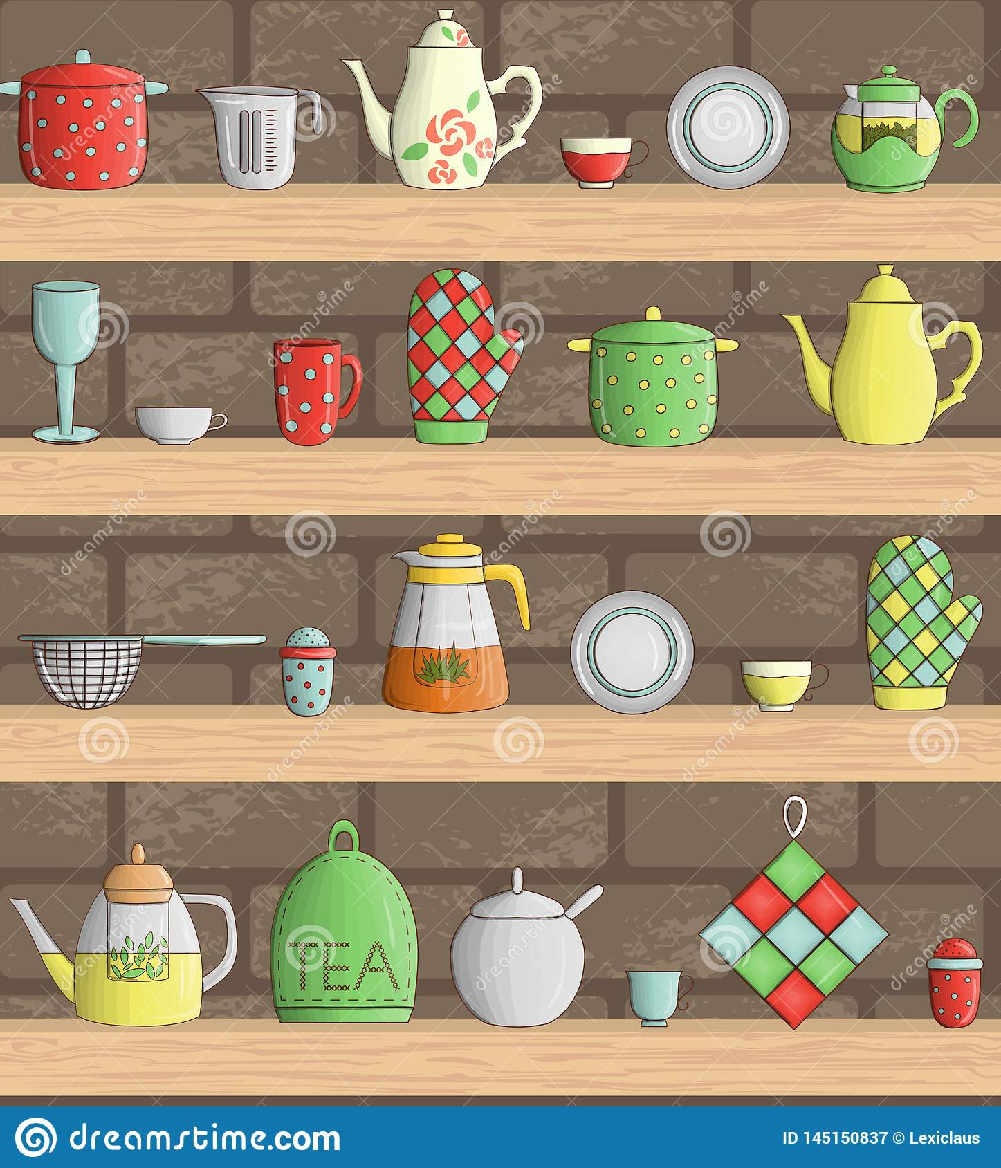 Vector set of colored kitchen tools on shelves with brick background