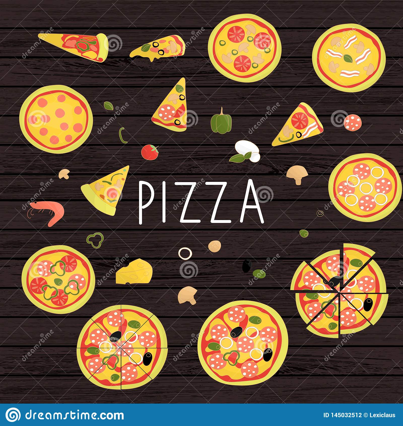 Vector set of colored pizza