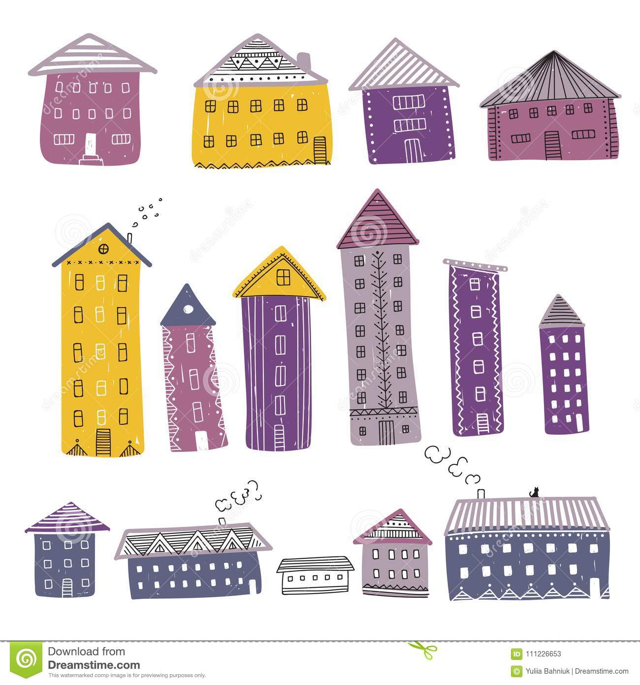 Vector set of colorful buildings decorated with ornaments