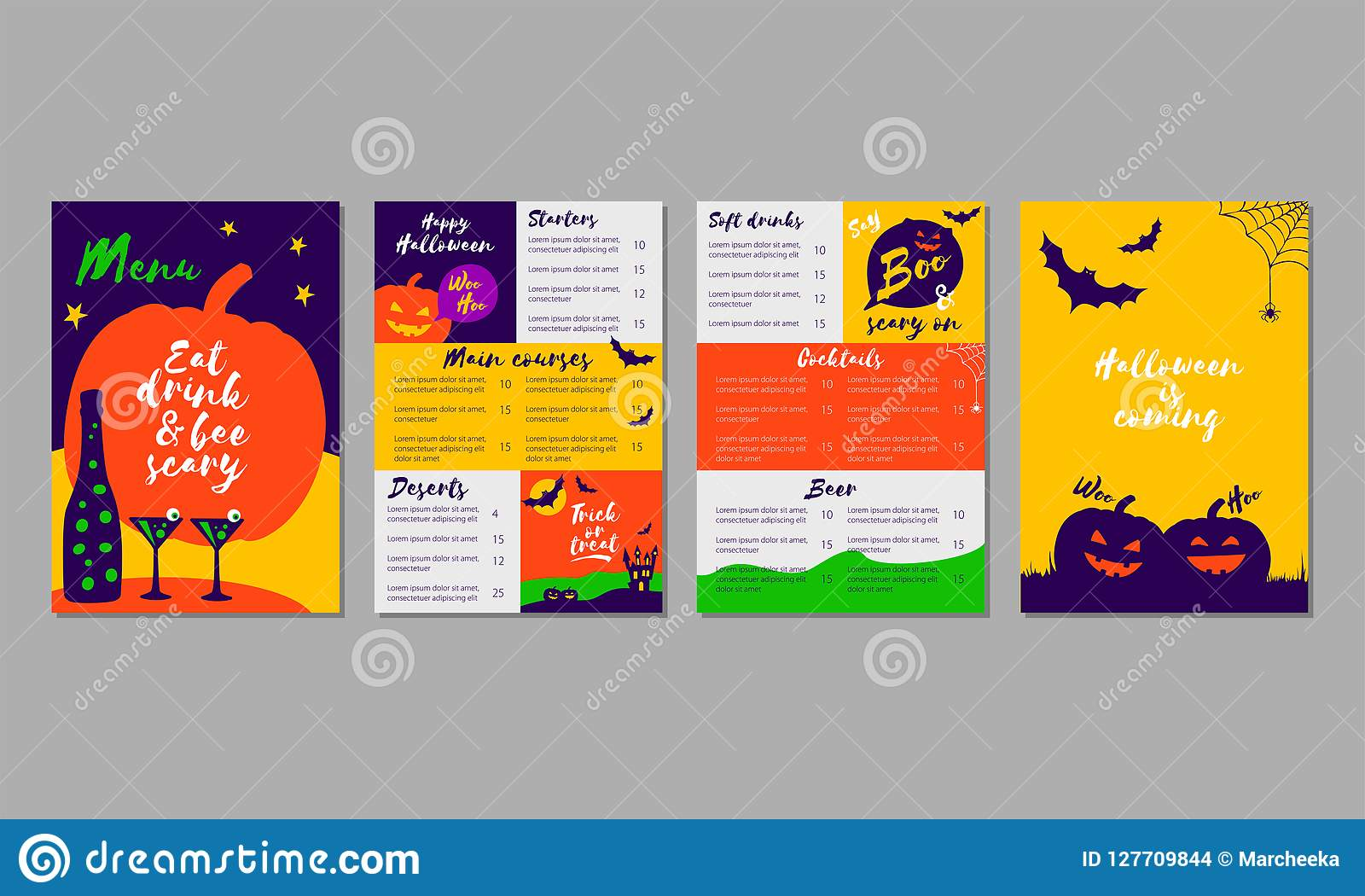 vector set of colorful halloween menu template for restaurant bar