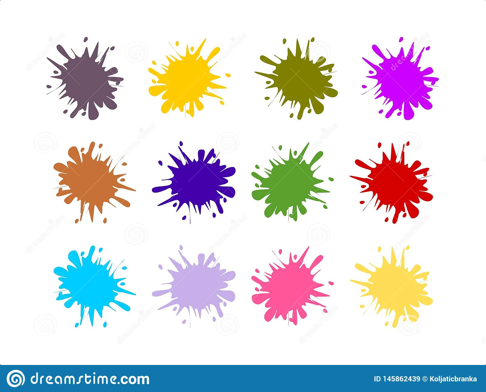 Vector set of colorful paint splashes