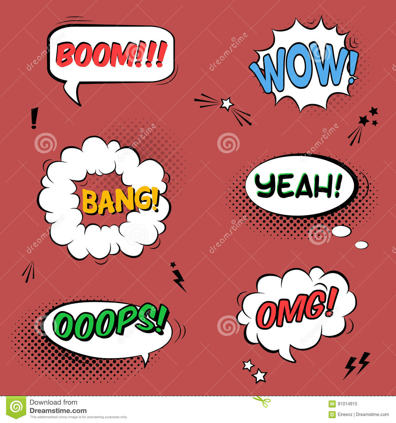 vector set with comic speech bubbles with sound effects stars stock