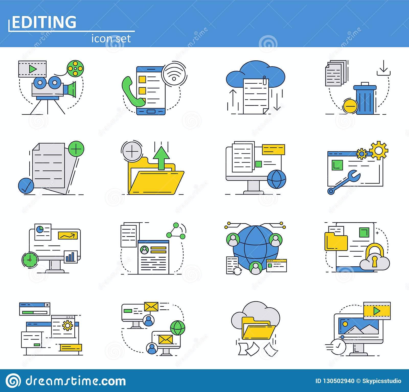 Vector set of computer services icons in thin line style. Messages, email, cloud storage. Website UI and mobile web app