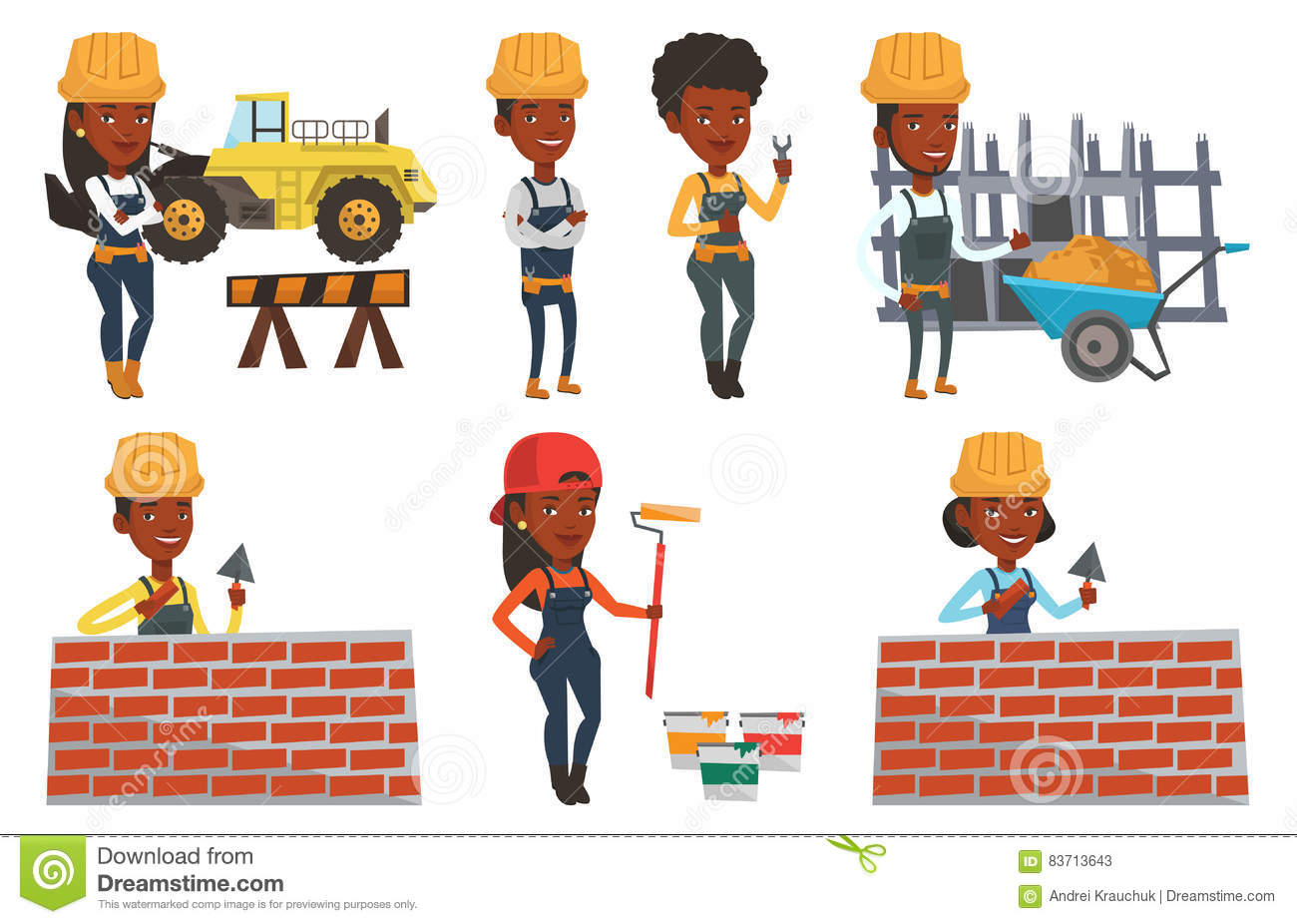 Vector Set Of Constructors And Builders Characters Stock Vector