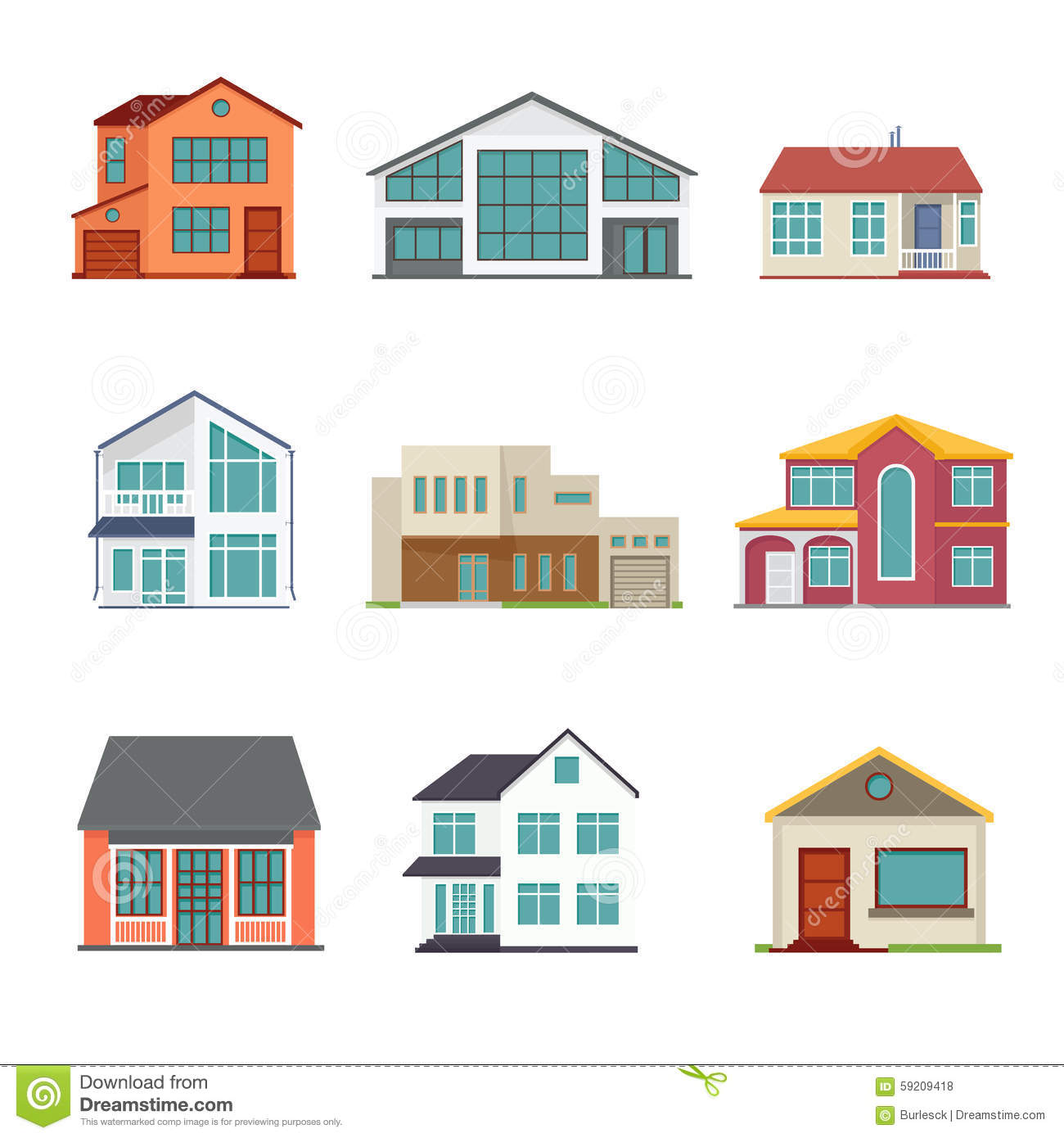 Vector set of cottage building flat icons stock vector for Flat architecture design