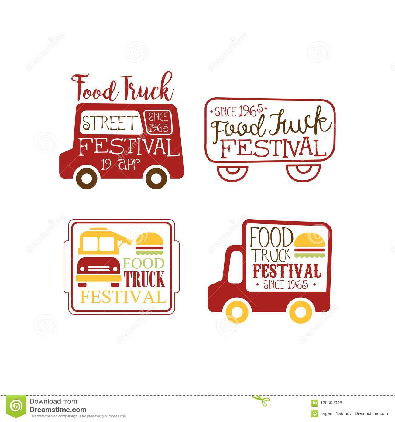 vector set of creative logo templates for food truck cafe street