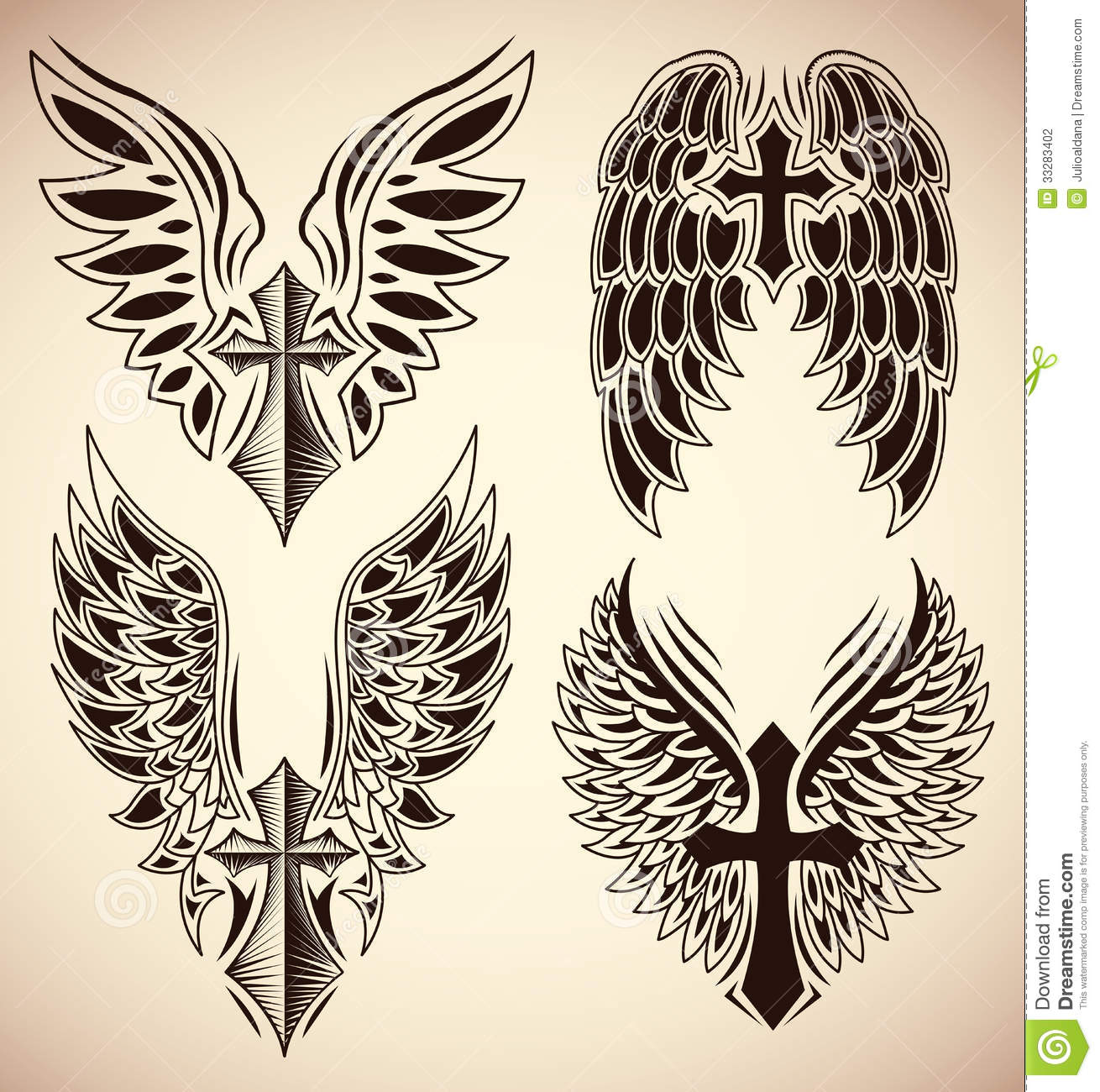Vector Set Of Cross And Wings Tattoo Elements Stock Illustration