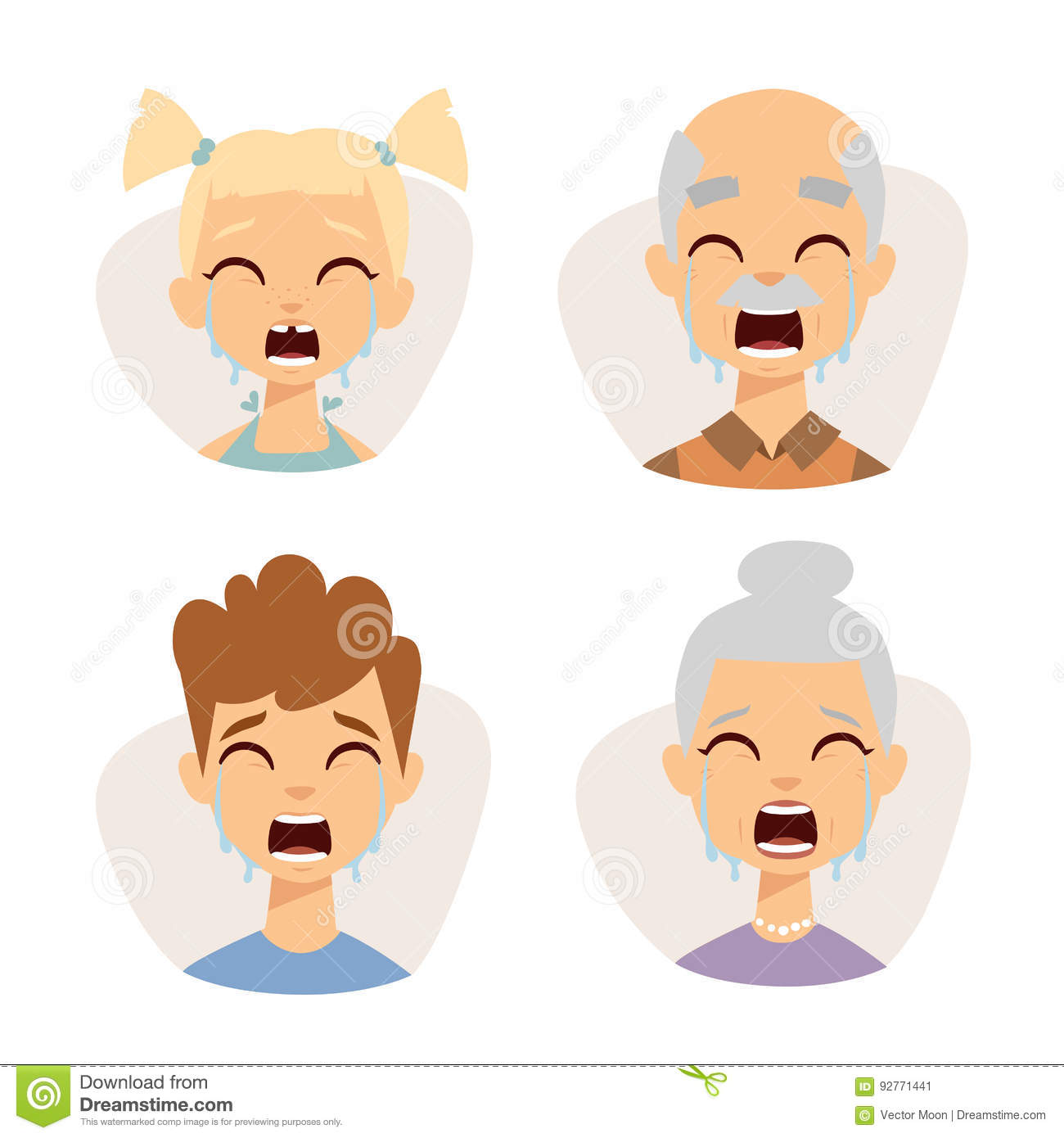 Vector Set Crying Emoticons Face Of People Fear Shock Surprise