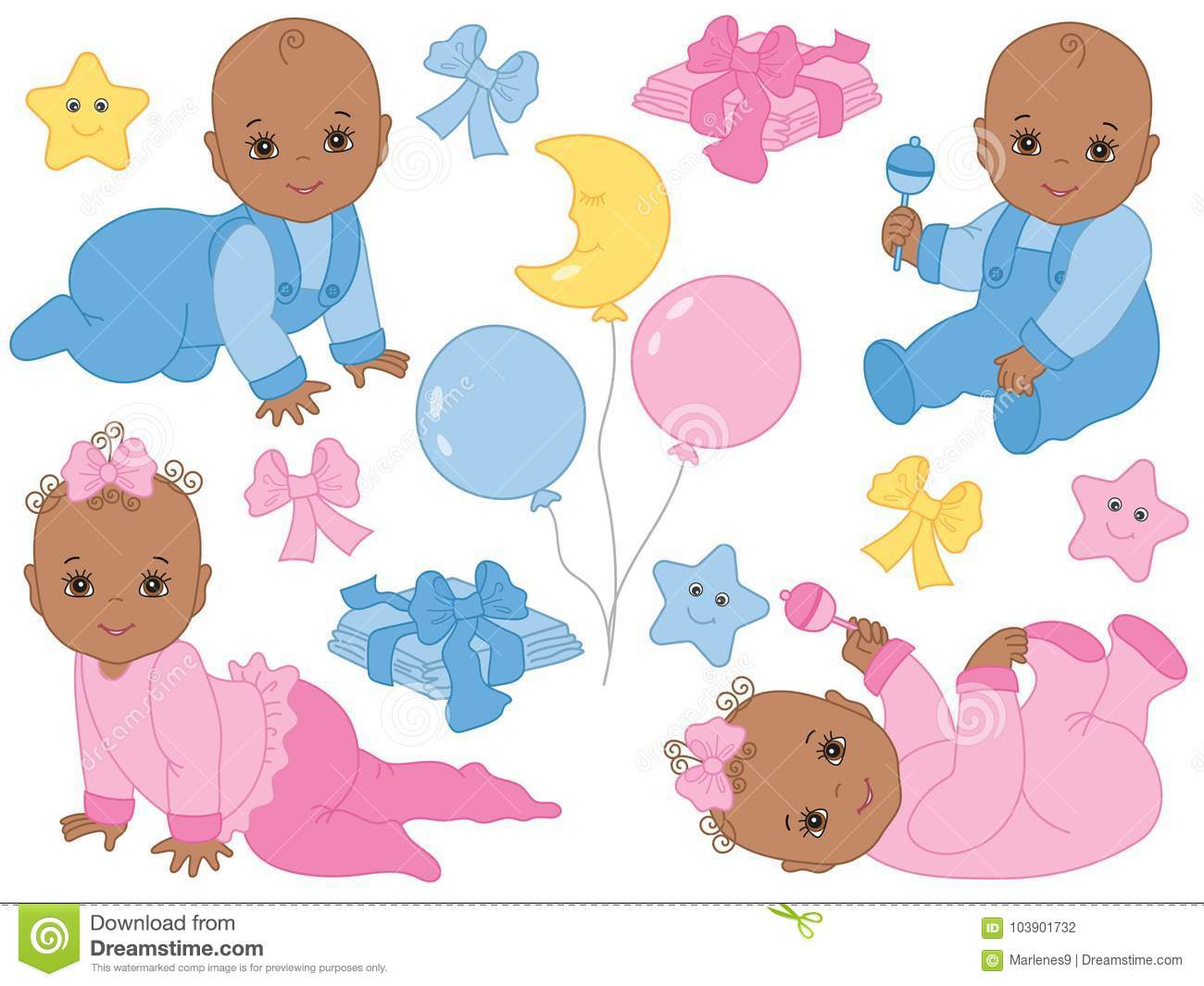 Vector Set of Cute African American Baby Boy and Baby Girl. Vector Baby Shower