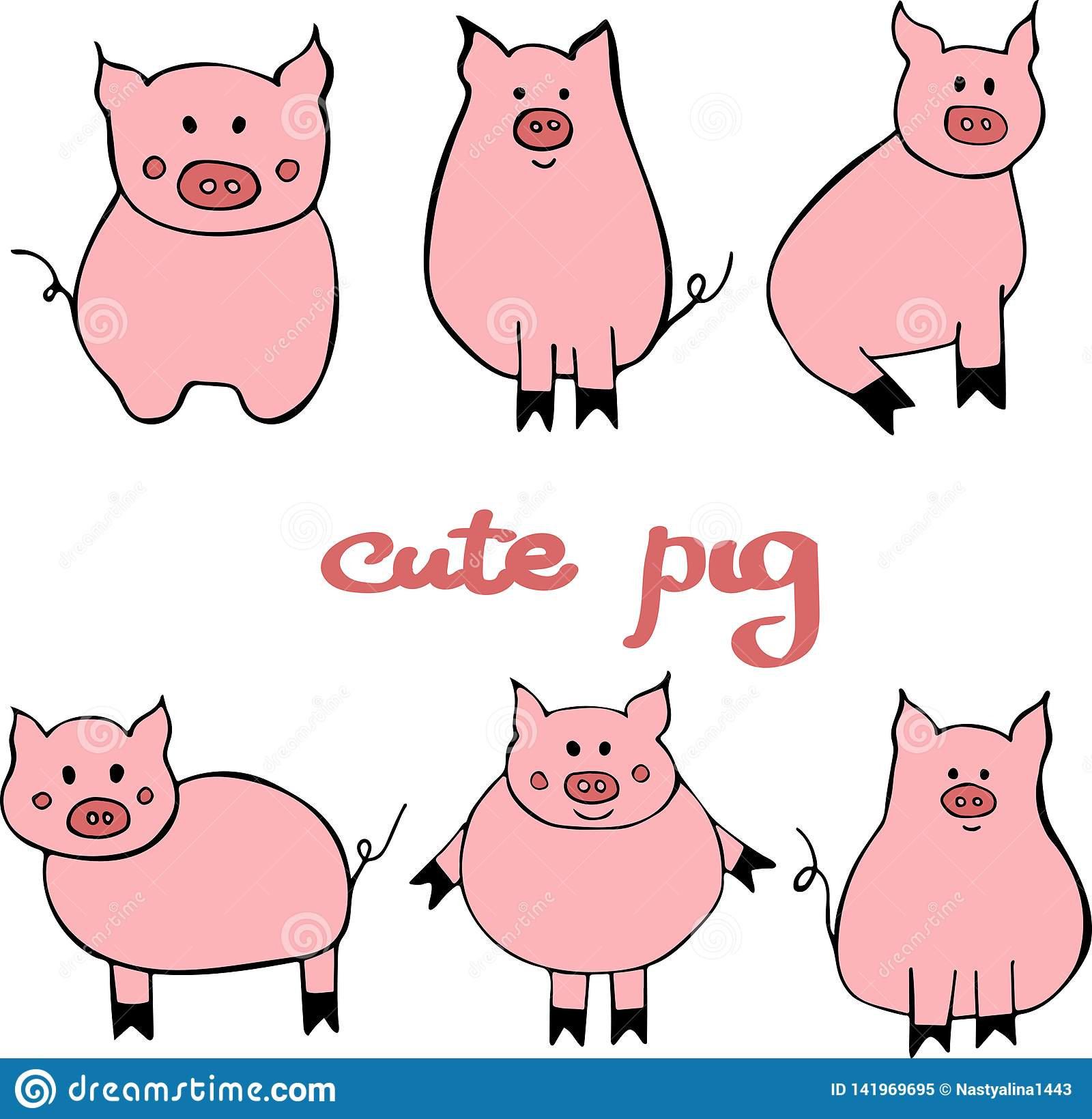 Vector set of cute cartoon pig. Illustration with the symbol of the new year 2019