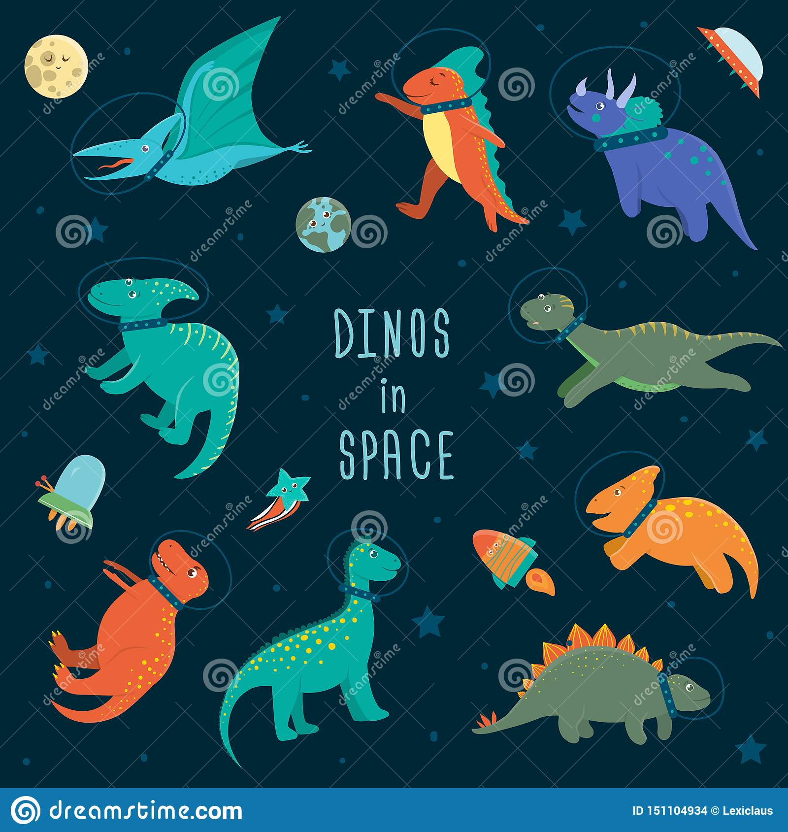 Vector Set Of Cute Dinosaurs In Outer Space Stock Vector