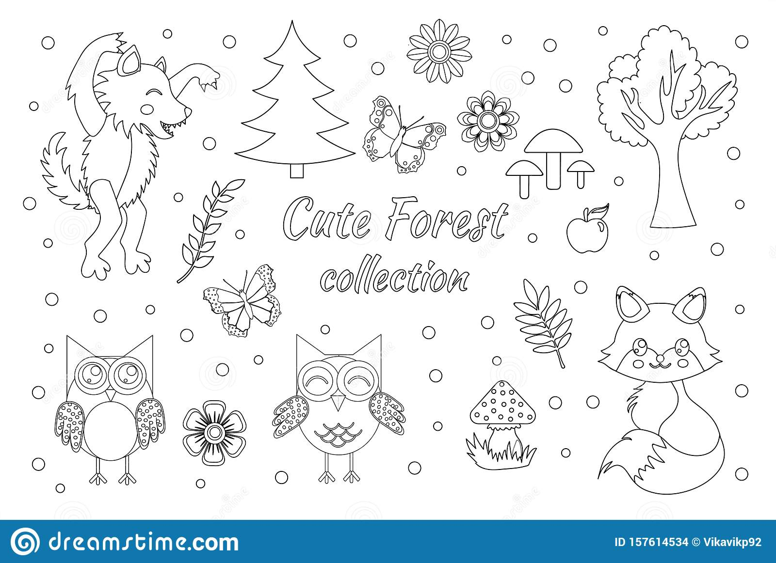 Woodland Animal Coloring Pages For Kids. Hand Drawn Vector On ... | 1162x1600