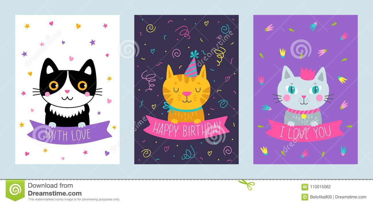 Vector Set Of Cute Greeting Cards With Cat