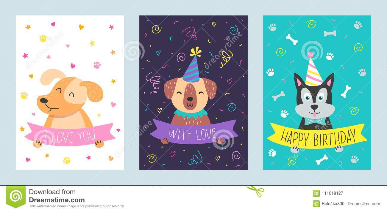 Vector Set Of Cute Greeting Cards With Dog Stock Vector