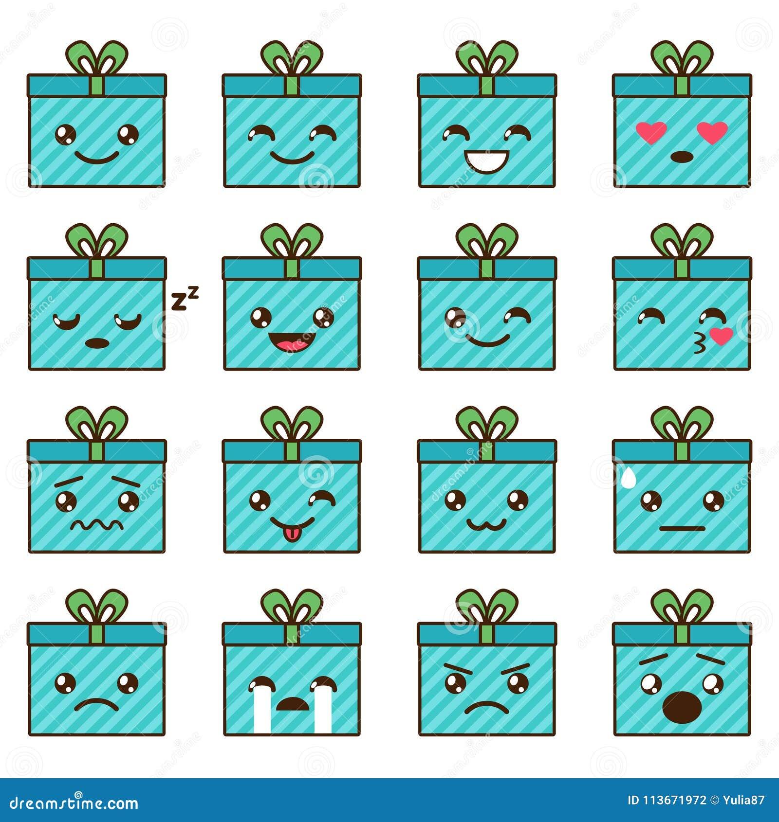 vector set of cute kawaii emoji stock vector illustration of sign